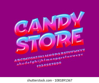 Glossy bright sign Candy store. Color gradient Font.Sweet Alphabet Letters, Numbers and Symbols