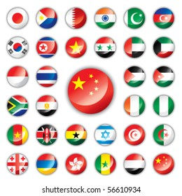 Glossy button flags - Asia & Africa. 32 Vector icons. Original size of China flag in down right corner.