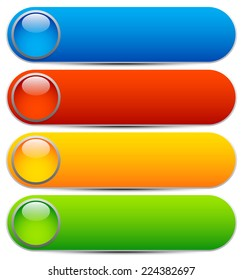 Glossy buttons, banners. Rounded rectangle shapes. Colorful vector design elements. Blank buttons. Bright vector template, webdesign element