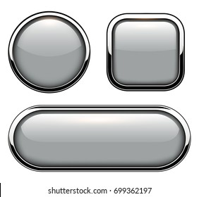 Glossy buttons with metallic chrome elements isolated, vector illustration.