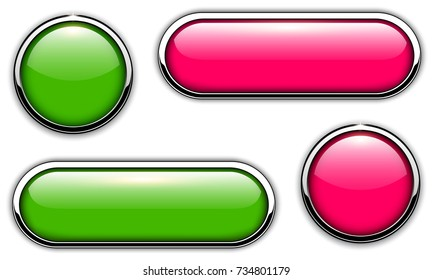 Glossy buttons with metallic, chrome elements, green and pink vector illustration.