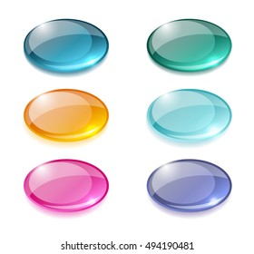 Glossy buttons oval