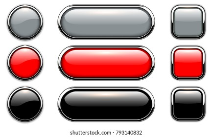 Glossy buttons set with metallic, chrome elements, shiny icons vector illustration.