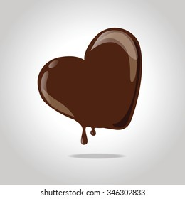 Glossy chocolate melted heart.