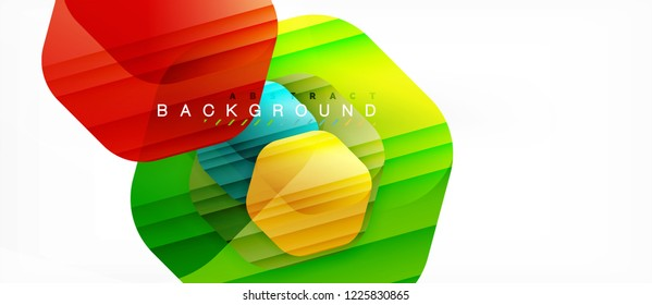 Glossy color hexagons modern composition background, shiny glass design, vector