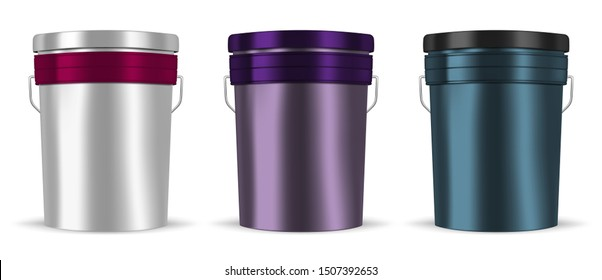 Glossy color metal bucket with handle isolated on white background, realistic vector mockup set. Blank metallic pail container with lid, template. Easy to recolor.