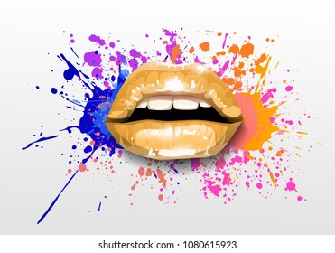 Glossy colored and sexy Lips in splash of paint. Vector
