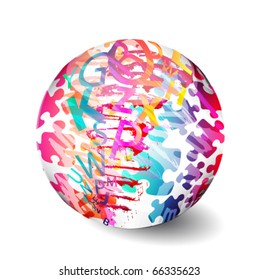 Glossy colorful abstract globe, with letters and puzzles