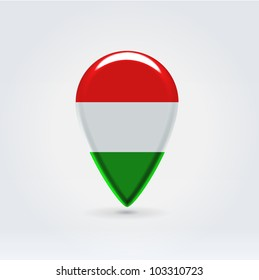 Glossy colorful Hungary map application point label symbol hanging over enlightened background