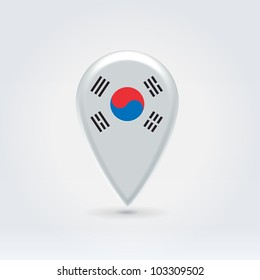 Glossy colorful South Korea map application point label symbol hanging over enlightened background