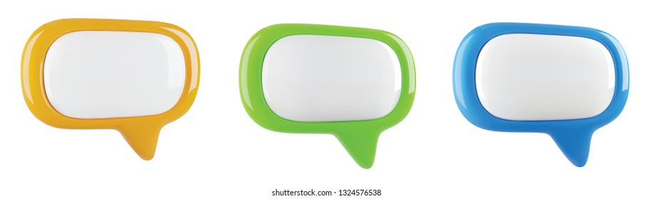 glossy colorful speech bubble set, vector illustration