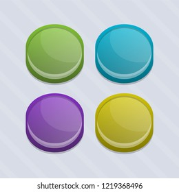 Glossy colorfull frames for buttons. Vector asset for game or apps design. Easy to edit.
