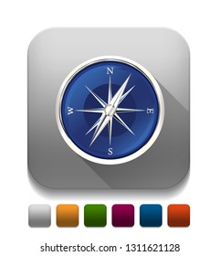 Glossy Compass With long shadow over app button