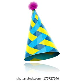 Glossy Cone-like Hat For Event Celebration. Vector Illustration.