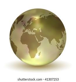 Glossy Crystal Earth Globe (Vector)