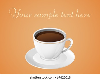 Glossy cup of coffee. Vector illustration.