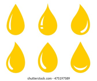 glossy drops set icons on white background