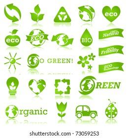 Glossy ecology icon set