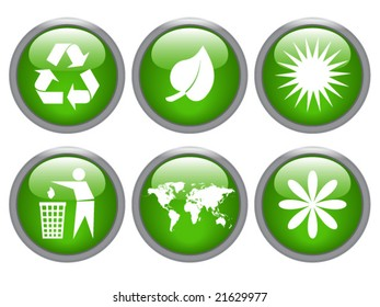 glossy ecology icon set - vector image