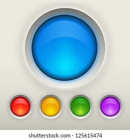 Glossy empty button in different colors. Interface vector elements collection