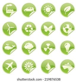 Glossy environmentally friendly sticky icons.