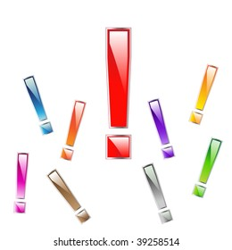 glossy exclamation marks with color options
