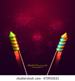 Glossy exploding Rockets on sparkling fireworks night city background, Vector illustration for Indian Festival of Lights, Happy Diwali Celebration.