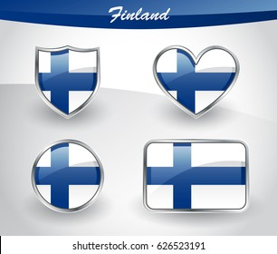 Glossy Finland flag icon set with shield, heart, circle and rectangle shapes in silver frame. Vector illustration.
