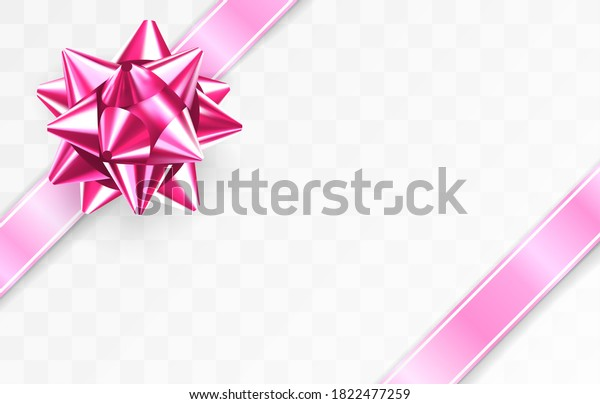 Glossy foil ruby red bow. Glowing bow with two pink ribbons isolated on transparent background. Festive decorative element. Holiday gift decoration. Greeting card template. Realistic 3d vector