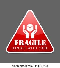 Glossy fragile icon isolated on dark grey background