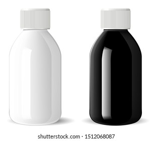 Glossy glass bottle. Medical cosmetic vial mockup. Realistic pharmacy vitamin jar. Supplement container illustration. Milk white bottle with plastic lid. Pharmaceutical syrup jar. Cylinder pack