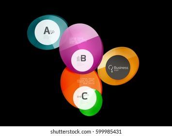 Glossy glass circle banner design template, speech bubbles