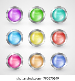 Glossy glass and metallic buttons set, vector symbols for internet web-sites navigation with silver brushed and glowing frame surface, laconic elegant design isolated on white.
