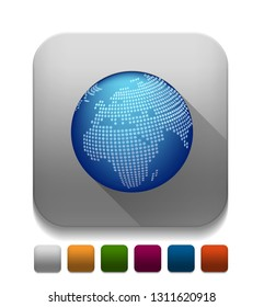 Glossy Globe Icon With long shadow over app button