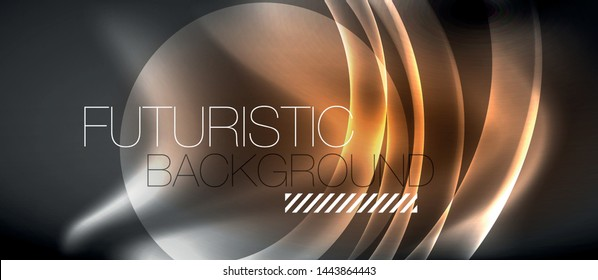 Glossy glowing neon light wave background, vector futuristic techno design
