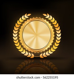 glossy gold badge .Empty space for text,Template for awards, quality mark, diplomas and certificates.