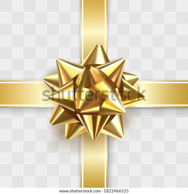 Glossy golden bow knot. Glowing bow with two gold ribbons isolated on transparent background. Festive decorative element. Holiday gift decoration. Greeting card template. Realistic 3d vector object