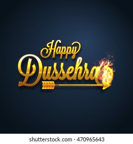 Glossy Golden Text Happy Dussehra with Burning Arrow, Creative Poster, Banner or Flyer design, Vector illustration for Indian Festival celebration.