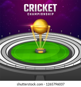 Glossy golden winning trophy on night stadium background for Cricket Championship template or banner design.