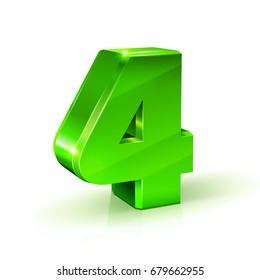 Glossy green Four 4 number. 3d Illustration on white background. Vector