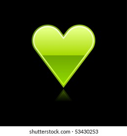Glossy green heart sign web button with reflection. Black background