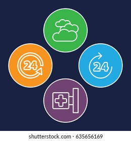 Glossy icons set. set of 4 glossy outline icons such as 24 hours, cloudy weather, medical cross
