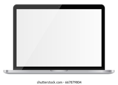 Glossy laptop with blank screen isolated on white background. Vector illustration. EPS10.