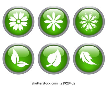 glossy leaf and flower icon set - vector image