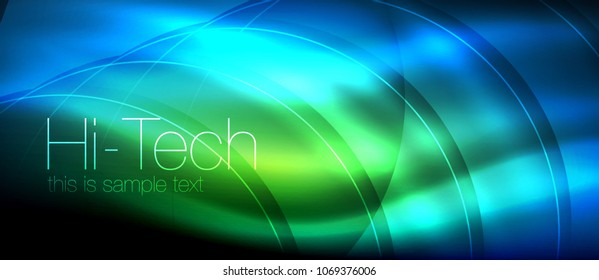 Glossy light effect neon glowing waves, shiny lights. Digital techno futuristic abstract background, vector illustration