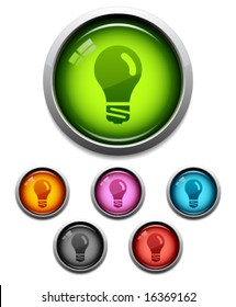 Glossy lightbulb button icon set in 6 colors
