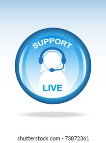 glossy live support button or icon