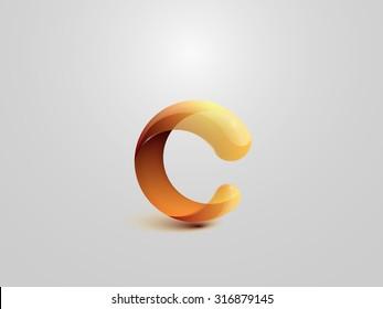Glossy Logo Design. Letter C. Colorful Icon. Vector Illustration.
