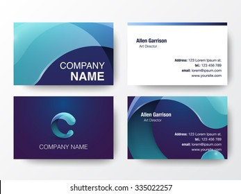 Glossy logo design on business cards template. Letter C icon. Vector illustration.