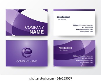 Business card set template business identity stock vector glossy logo design on business cards template letter e icon vector illustration reheart Choice Image